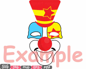 Props Circus Clown clipart svg photo booth prop Tent magician HAT mask birth 15p