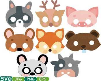 Props Forest Animals faces Woodland wood bear clip art animal deer fox farm 228S