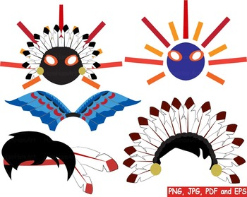 Props Indian Clip art Native American Tribal school mask face party game diy 174