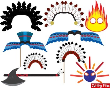 Props Indian Cutting Files Clip Art school mask face native american booth -53S