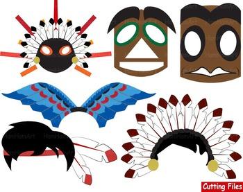 Props Indian Cutting Files Clip Art school mask face nativ