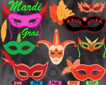 Props Mask Mardi Gras fleur de lis Masquerade SVG Clip art party circus cut -73S