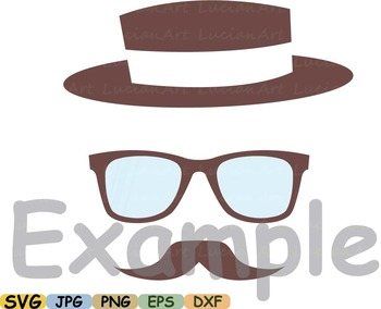 Props Mustache retro party photo booth Clip art Cutting files back SVG 10sv