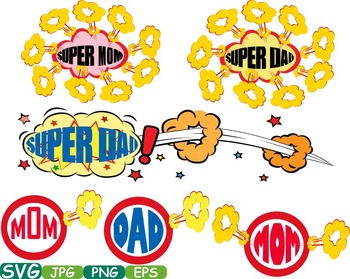 Props Super mom dad supermom superdad clipart party heroes mothers day svg -285s