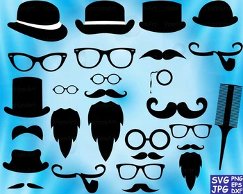 Props black Mustache retro party photo booth Clip art Cutting files back SVG 62S