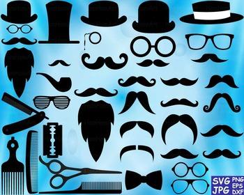 Props black Mustache retro party photo booth Clip art Cutt