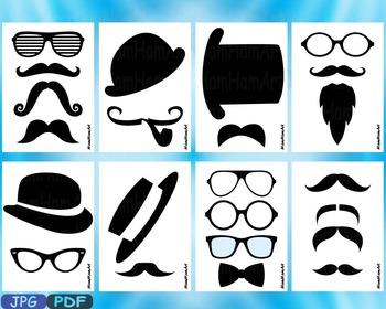 Props black Mustache retro party photo booth prop gentleman JPG PDF ClipArt -2p
