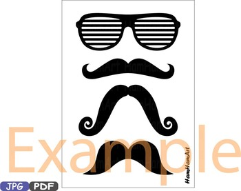 Props black Mustache retro party photo booth prop gentleman JPG PDF ClipArt  -2p