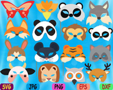 Props circus Animals Forest Safari woodland Clip art SVG decoration kid mask 76S
