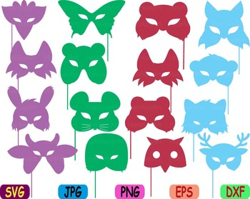 Props circus Animals Forest Safari woodland Clip art SVG super hero kid mask 77S