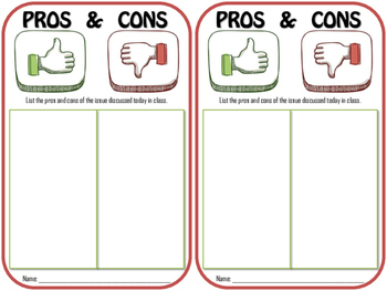 Pros and Cons Exit Ticket