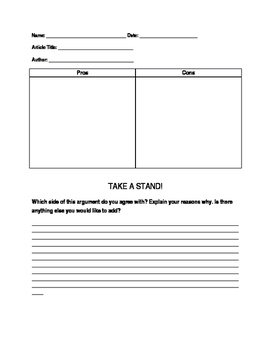 Pros and Cons Graphic Organizer- Persuasive Reading/ Writing