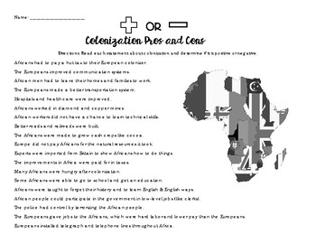 Pros and Cons of Colonization (Africa)