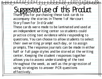 Prose Constructed Response (PCR) Task Cards, 3rd Grade StoryTown, Theme 3