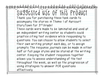 Prose Constructed Response (PCR) Task Cards, 4th Grade StoryTown, Theme 1