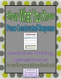Prose Constructed Response - Writing Prompts and Rubric for any text (4th-5th)