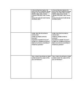 Prose & Poetry Analysis Chart