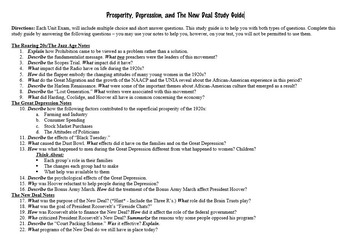 Prosperity (The Roaring 20s), Depression, and The New Deal