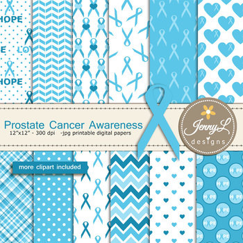 Prostate Cancer Awareness Digital papers and Blue Ribbon clipart SET