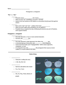 Protagonist/Antagonist and Point of View Guided Notes
