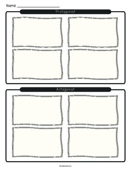 Protagonist and Antagonist Narrative Writing Graphic Organizer