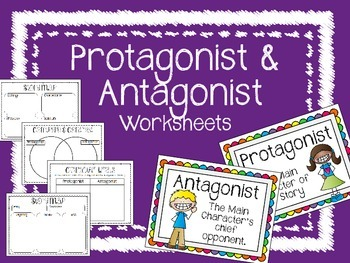 Protagonist and Antagonist Posters and Worksheets. Writing