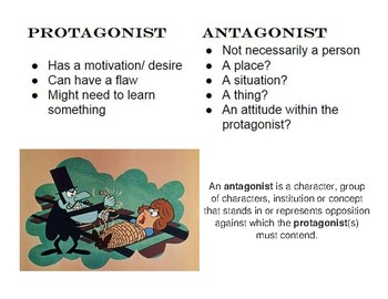 Protagonist vs. Antagonist Novel Reading Handout Visual for Character Conflict