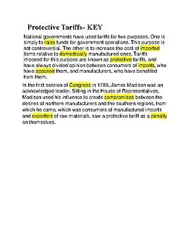 Protected Tariffs --  CLOZE Reading