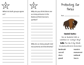 Protecting Our Parks Trifold - Wonders 3rd Grade Unit 1 Week 5 (2020)