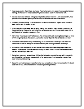 Protecting The Coral Reefs (Handout Notes)
