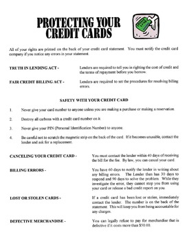 Protecting Your Credit Card Lesson
