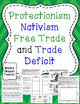 Protectionism, Nativism, and Trade Deficits, and Free Trade