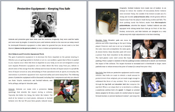 Protective Equipment - Keeping you safe - Grade 8 and Up Science Reading Article
