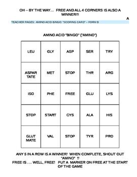 Protein Synthesis - Amino Acid Bingo
