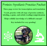 Protein Synthesis Practice Packet