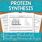 Protein Synthesis Unit Homework Page Bundle