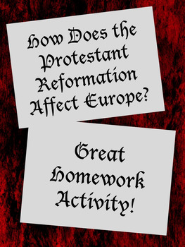 Protestant Reform Affects Europe Worksheet