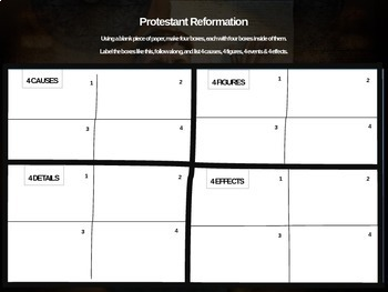 Protestant Reformation - 4 causes, 4 figures, 4 events, 4 effects (20-slide PPT)