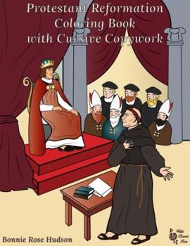Protestant Reformation Coloring Book with Cursive Copywork