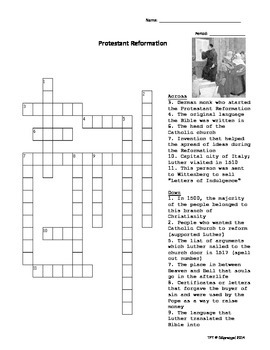 Protestant Reformation Crossword Puzzle with Key