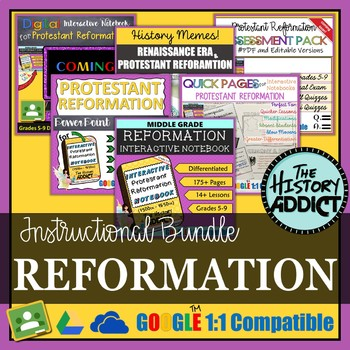 Protestant Reformation Era Interactive Notebook Instructional Bundle