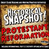 Protestant Reformation Historical Snapshot Close Reading Activity and Quiz