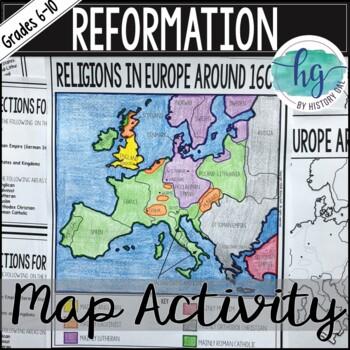 1600 Europe Map.Protestant Reformation Map Activity By History Gal Tpt