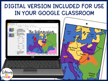 Protestant Reformation Map Lesson and Quiz (Digital and PDF versions)