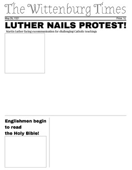 Protestant Reformation Newspaper Project
