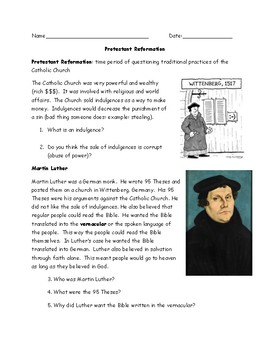 Protestant Reformation Packet