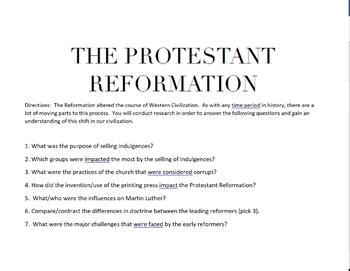 Protestant Reformation Research Webquest  Western Civilization  History 101