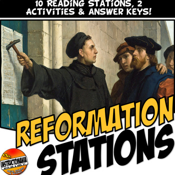 Protestant Reformation Station Activity with Graphic Organ