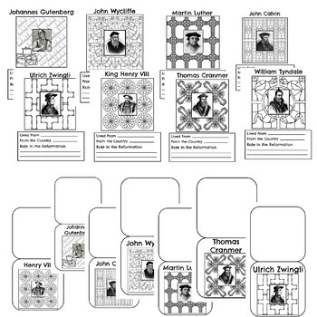 Protestant Reformation WebQuest and Interactive Research Coloring Pages