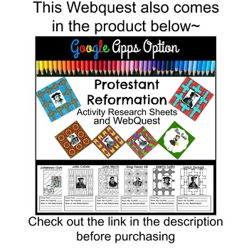 Protestant Reformation Webquest  Printable and Google Apps